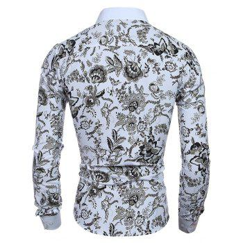 Men's Long Sleeve Stylish Floral Casual Button Down Shirt - WHITE XL