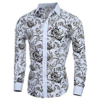 Men's Long Sleeve Stylish Floral Casual Button Down Shirt - WHITE M