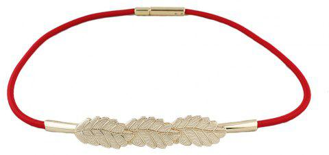 Fashion Elastic Ribbon Leaf Shape Belts for Women - RED