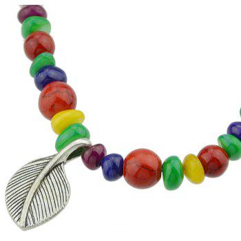 Bohemian Colorful Beads with Metal Leaf Bracelet - multicolor
