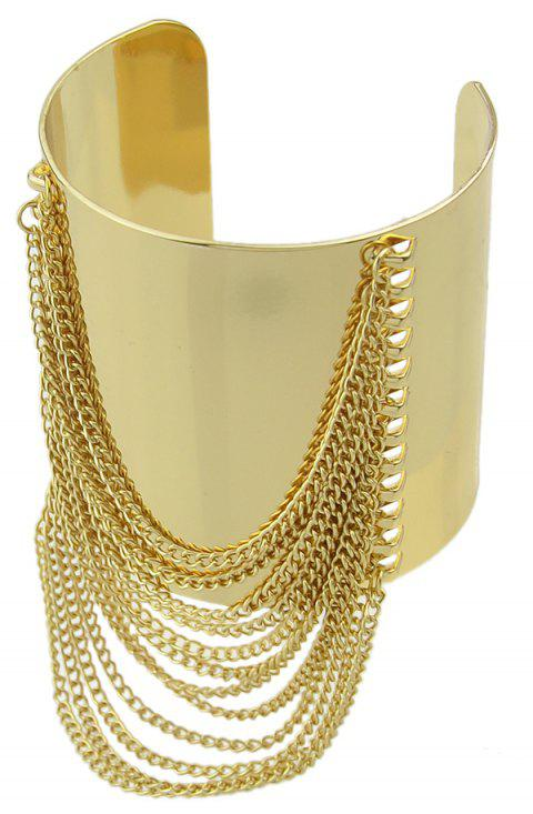 Gold-color Big Cuff Bracelet with Wide Chain Tassel - GOLD