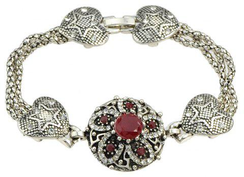 Colorful Rhinestone Flower Charm Bracelets Designer Jewelry - CHILLI PEPPER