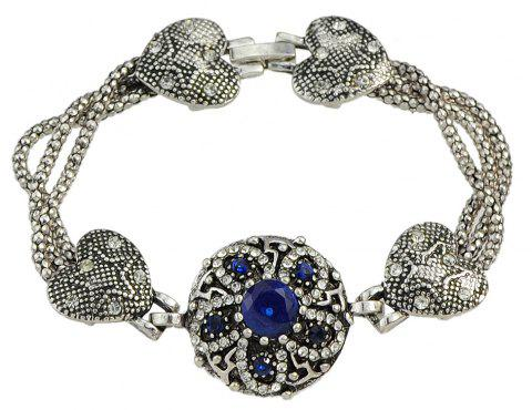 Colorful Rhinestone Flower Charm Bracelets Designer Jewelry - BLUE
