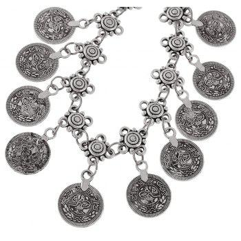 Bohemian Silver Color Coin Charm Chain Anklets - SILVER