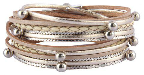 Fashion Decorative Multi Layer Leather Light Bead Magnet Buckle Bracelet - GOLD
