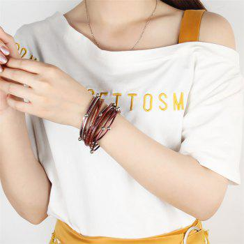 Fashion Decorative Multi Layer Leather Light Bead Magnet Buckle Bracelet - RED