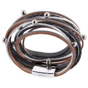 Fashion Decorative Multi Layer Leather Light Bead Magnet Buckle Bracelet - GRAY