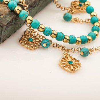 Fashion Turquoise Hollow-Out Flower Pendant with Two Pieces of Bracelet - DARK TURQUOISE