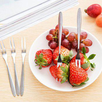 5PCS Stainless Steel Fruit Fork Cutlery - SILVER