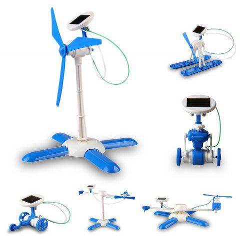 6 in 1 Solar Toy Educational DIY Robot Creative Gifts for children - BLUE