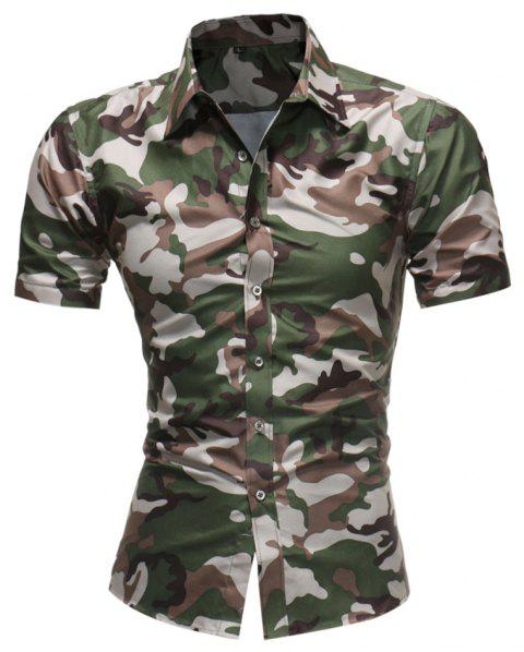 2018 Summer New Men's Fashion Simple Lapel Camouflage Short-sleeved Casual Shirt - COFFEE XL