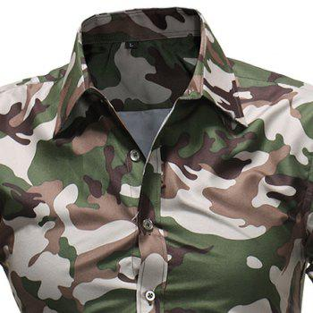 2018 Summer New Men's Fashion Simple Lapel Camouflage Short-sleeved Casual Shirt - COFFEE 3XL