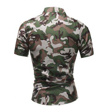 2018 Summer New Men's Fashion Simple Lapel Camouflage Short-sleeved Casual Shirt - COFFEE M
