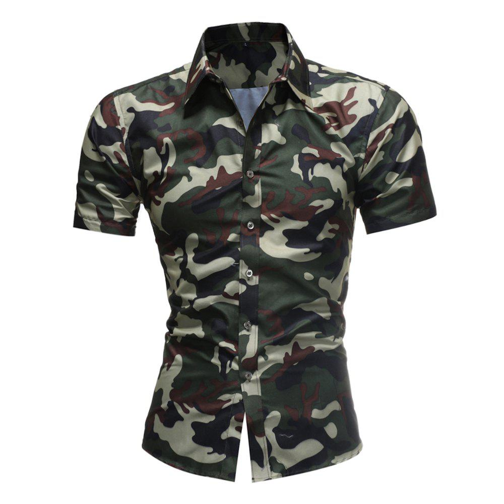 2018 Summer New Men's Fashion Simple Lapel Camouflage Short-sleeved Casual Shirt - MEDIUM SEA GREEN L