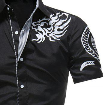 2018 Summer New Men's Fashion Dragon Print Short-sleeved Casual Shirt - BLACK 3XL