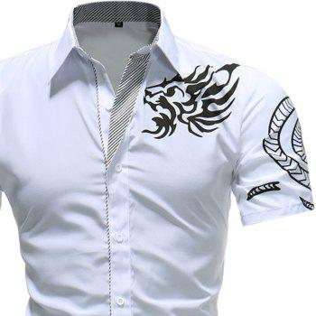 2018 Summer New Men's Fashion Dragon Print Short-sleeved Casual Shirt - WHITE M