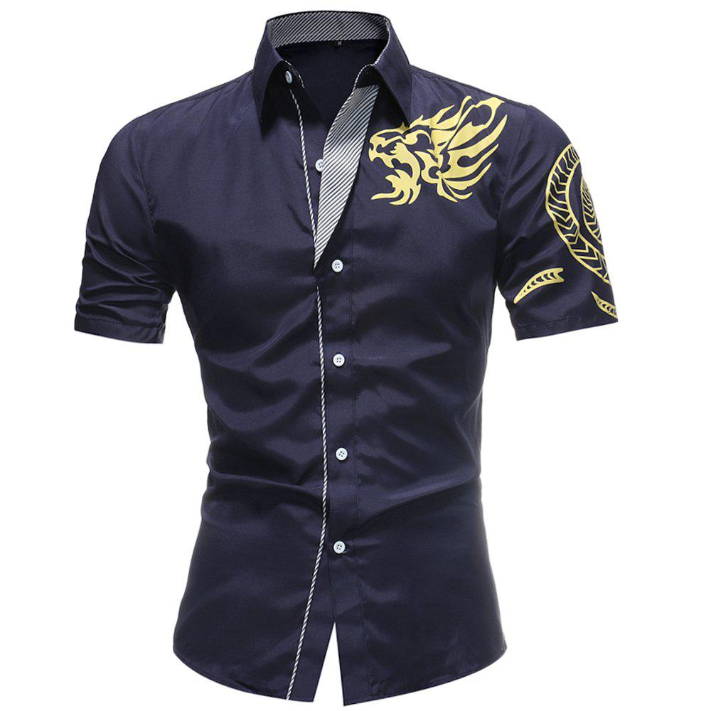 2018 Summer New Men's Fashion Dragon Print Short-sleeved Casual Shirt - CADETBLUE 2XL