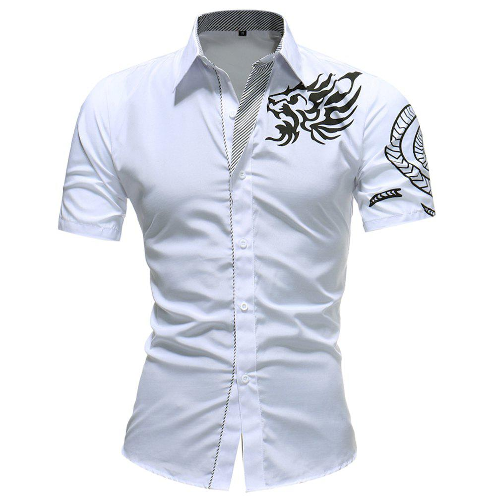 2018 Summer New Men's Fashion Dragon Print Short-sleeved Casual Shirt - WHITE XL