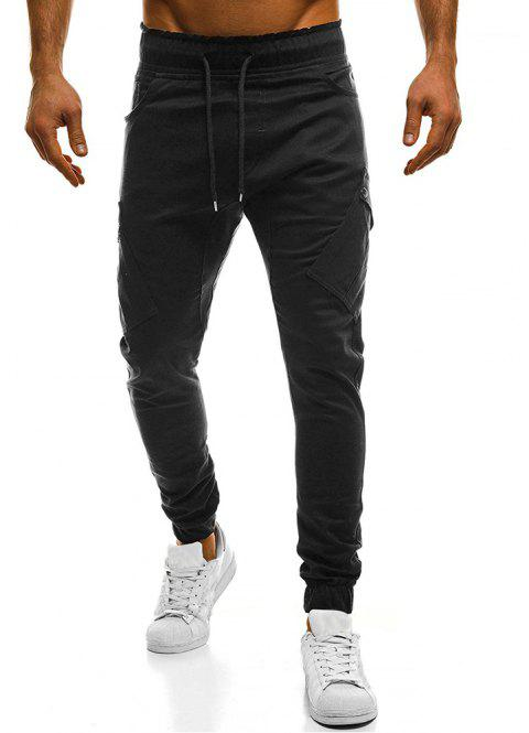 2018 New Large Size Men's Wild Solid Color Oblique Pocket Casual Feet Pants - BLACK XL