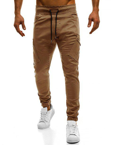2018 New Large Size Men's Wild Solid Color Oblique Pocket Casual Feet Pants - CAMEL BROWN M