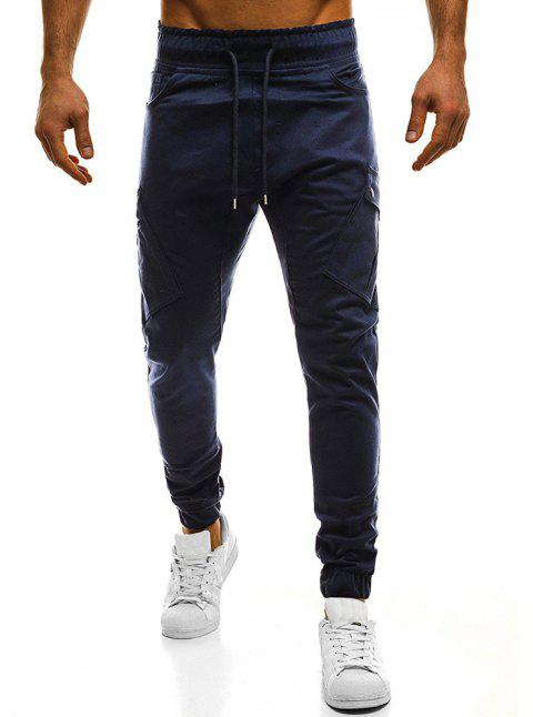 2018 New Large Size Men's Wild Solid Color Oblique Pocket Casual Feet Pants - CADETBLUE 3XL