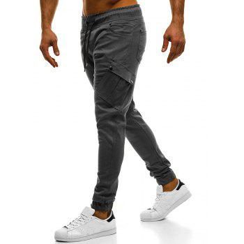 2018 New Large Size Men's Wild Solid Color Oblique Pocket Casual Feet Pants - GRAY M