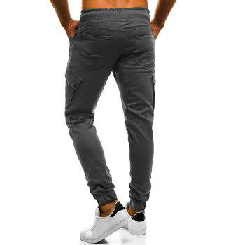 2018 New Large Size Men's Wild Solid Color Oblique Pocket Casual Feet Pants - GRAY XL