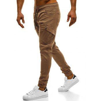 2018 New Large Size Men's Wild Solid Color Oblique Pocket Casual Feet Pants - CAMEL BROWN L