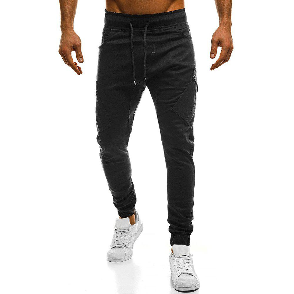 2018 New Large Size Men's Wild Solid Color Oblique Pocket Casual Feet Pants - BLACK 3XL