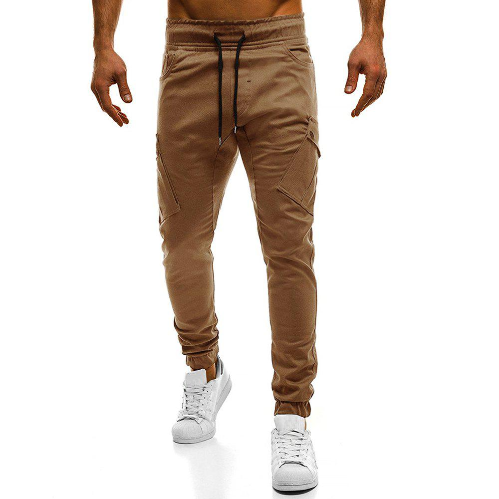 2018 New Large Size Men's Wild Solid Color Oblique Pocket Casual Feet Pants - CAMEL BROWN 3XL