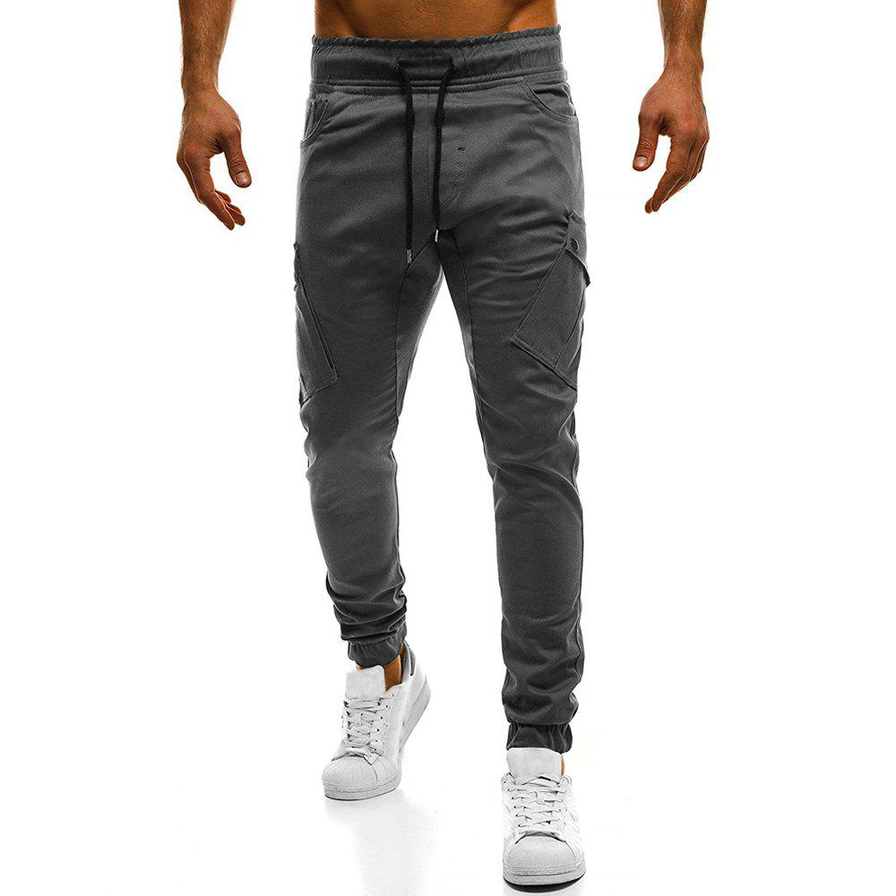 2018 New Large Size Men's Wild Solid Color Oblique Pocket Casual Feet Pants - GRAY 3XL