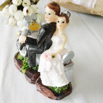 The Motorcycle Bride And Groom Cake Topper - multicolor B
