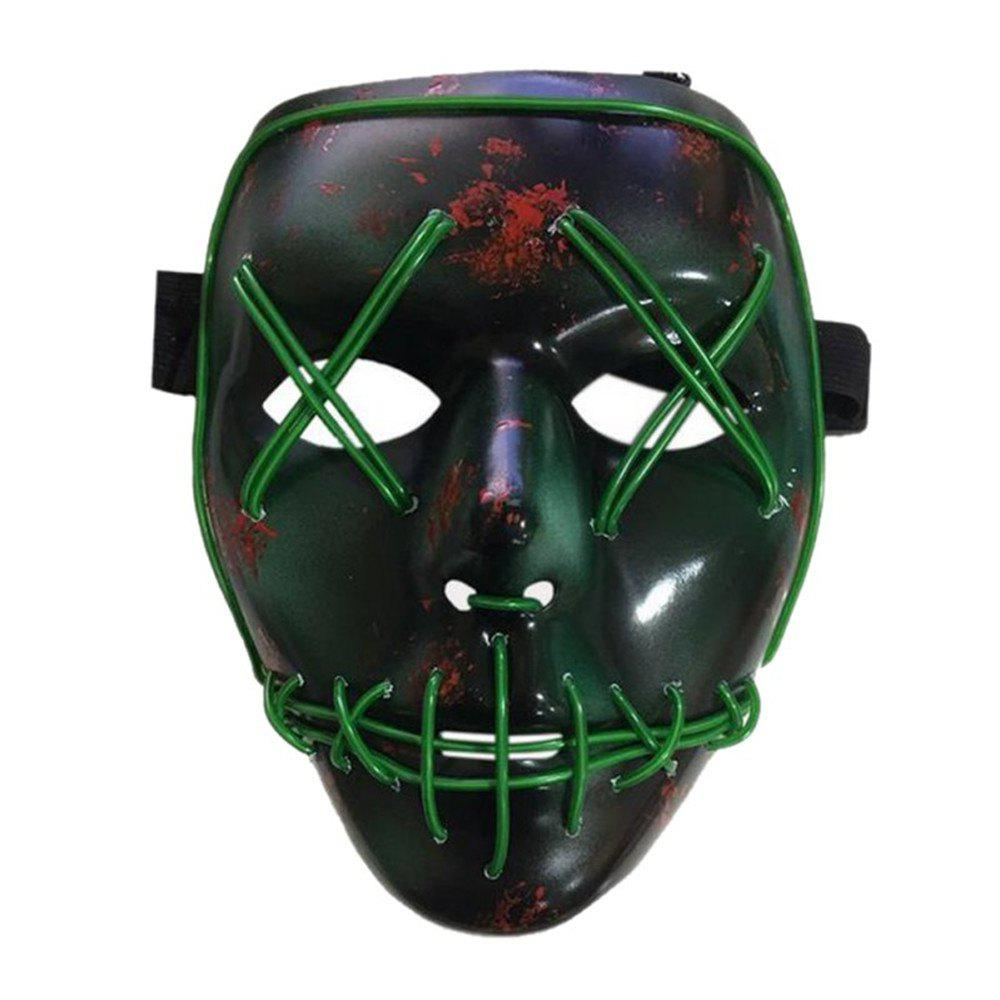 Halloween Mask LED Glow Scary Wire Light Up Grin Festival Parties - multicolor A