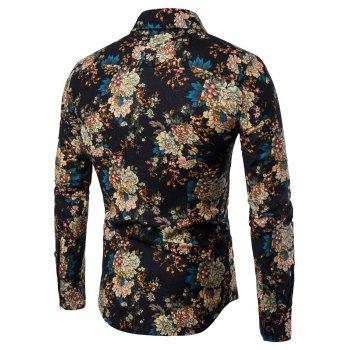 Men's  Flower Shirt Print Slim Fashion Lapel Long Sleeve T-Shirt - multicolor 3XL