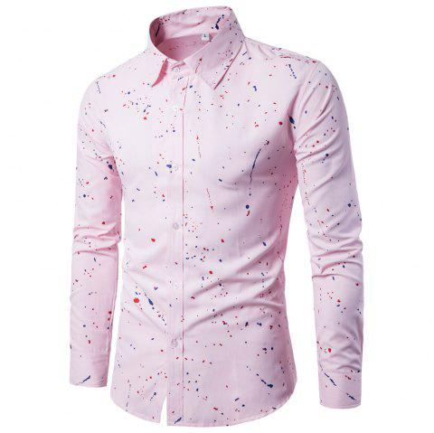 Men's  Autumn Long Sleeve Large Size Casual Print Shirt - PINK L