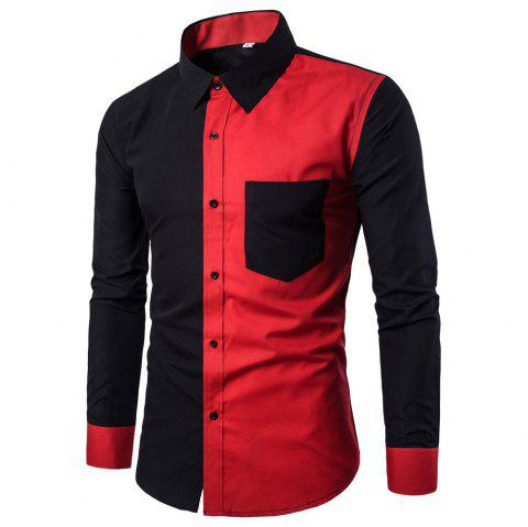 Long Sleeve Contrast Color Casual Men's  Stitching Shirt - BLACK 2XL