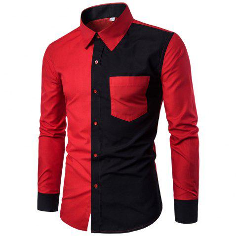 Long Sleeve Contrast Color Casual Men's  Stitching Shirt - RED XL