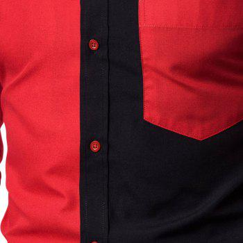 Long Sleeve Contrast Color Casual Men's  Stitching Shirt - RED 3XL