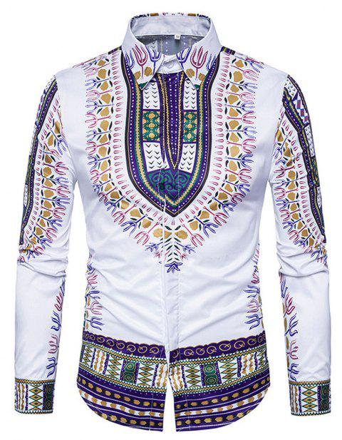 Men's   3D National Style Print Long Sleeve Lapel Casual Shirt - PURPLE XL