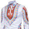 Men's   3D National Style Print Long Sleeve Lapel Casual Shirt - RED 3XL
