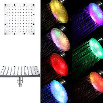 Stainless Steel 304 Square 8 inch Multicolor Fast Flashing LED Light Shower Head - multicolor MULTICOLOR FAST FLASHING TYPE