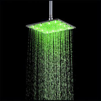 10 inch 25CM Square Stainless Steel RGB LED Bath Shower Faucet - multicolor TEMPERATURE BLUE-PINK-RED