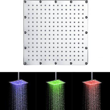 10 inch 25CM Square Stainless Steel RGB LED Bath Shower Faucet - multicolor TEMPERATURE SENSOR BLUE-GREEN-RED