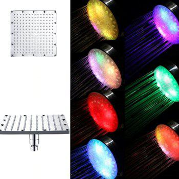 Color Changing 10 inch Square LED Shower Faucet Mixer Tap Stainless Steel - multicolor MULTICOLOR FAST FLASHING TYPE