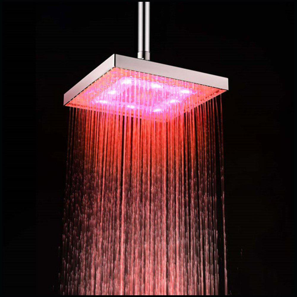 LED 8 inch ABS Overhead Rainfall Shower Head with Temperature Sensor - multicolor TEMPERATURE SENSOR 3 COLORS