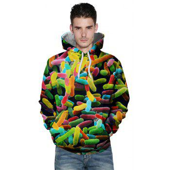 2018 Autumn Fashion 3D Printing Personality Hooded Sweatshirt - multicolor 2XL