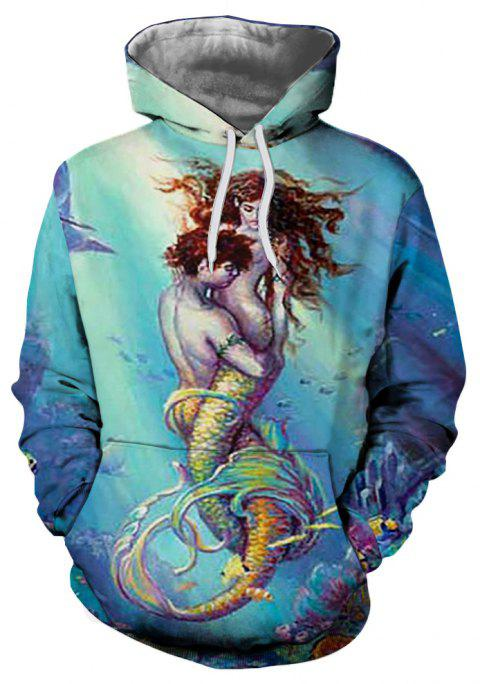 2018 New Sea Bottom Male and Female Fish Hooded Sweatshirt - multicolor M