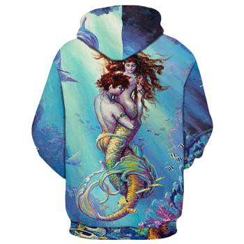 2018 New Sea Bottom Male and Female Fish Hooded Sweatshirt - multicolor L