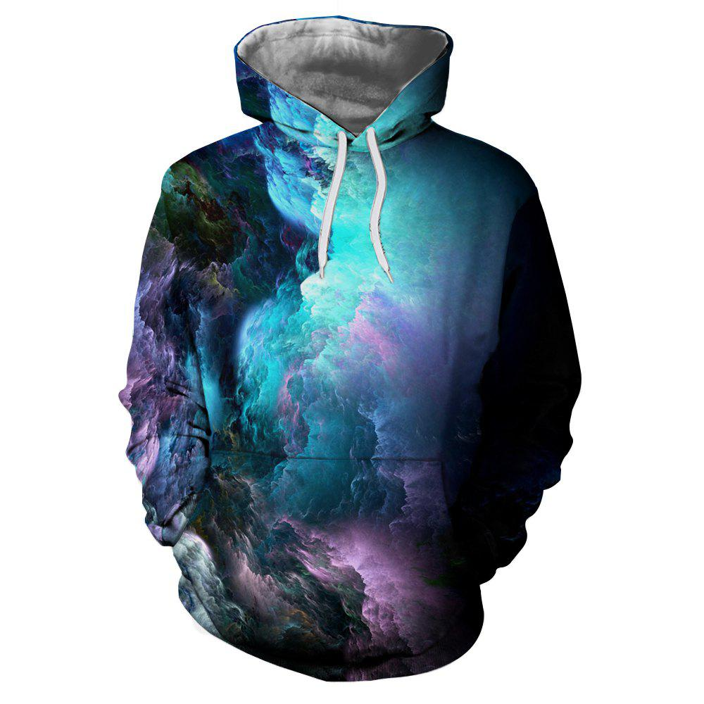 2018 New Fashion 3D Digital Printing Long Fleece Sweatshirt - multicolor L
