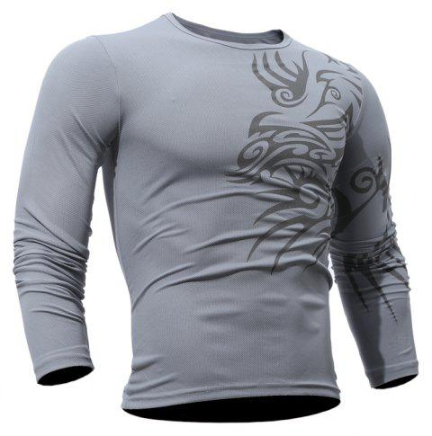 Fashion  Men's Dragon Print  Long-sleeved T-shirt - GRAY XL